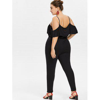 Plus Size Criss Cross Open Shoulder Jumpsuit - BLACK 3X
