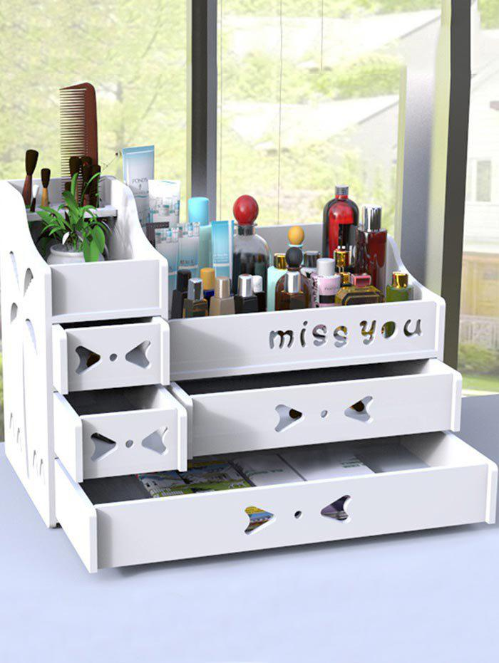 3 Layers Hollow Out Cosmetic Organizer Makeup Storage Drawers   WHITE