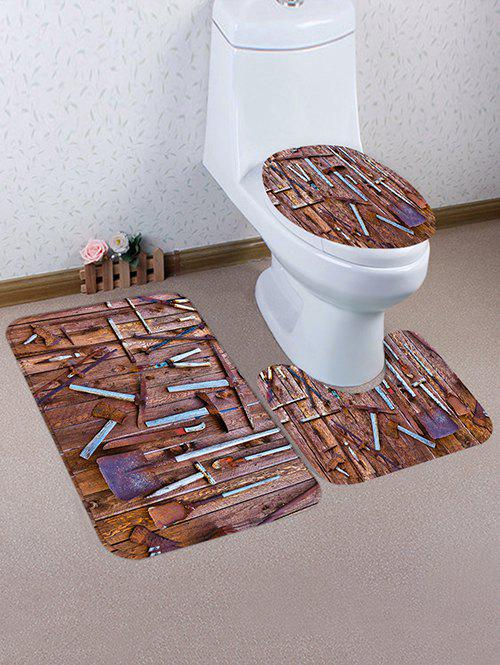 Rusty Planks Tool Print Flannel Bath Toilet Mat Set 3Pcs - multicolor C
