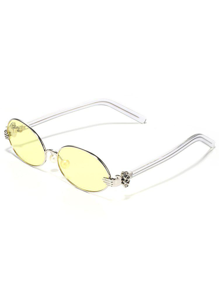Anti Fatigue Faux Pearl Oval Sunglasses - PARCHMENT