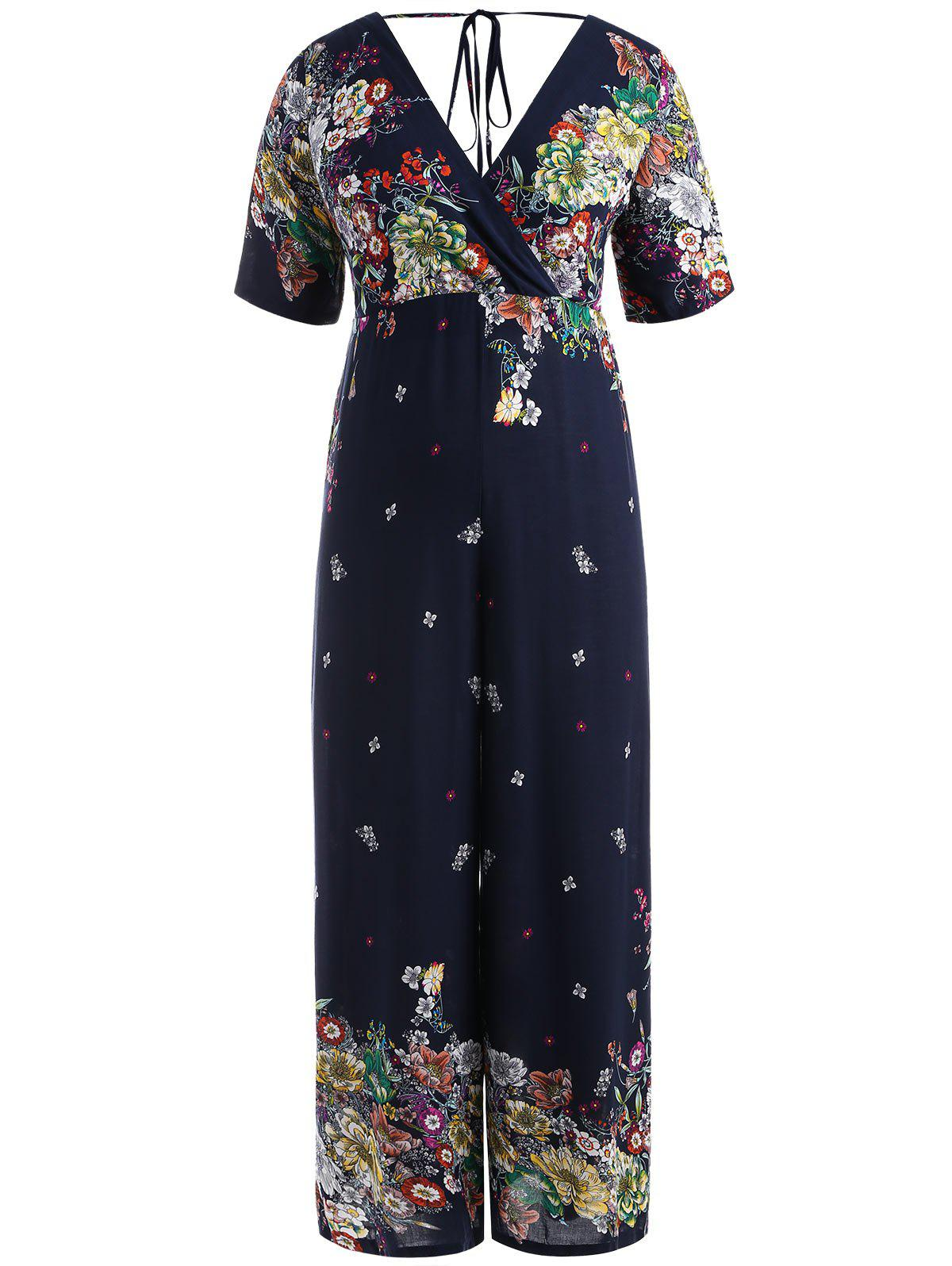 Plus Size Print Wide Leg Jumpsuit - DEEP BLUE XL