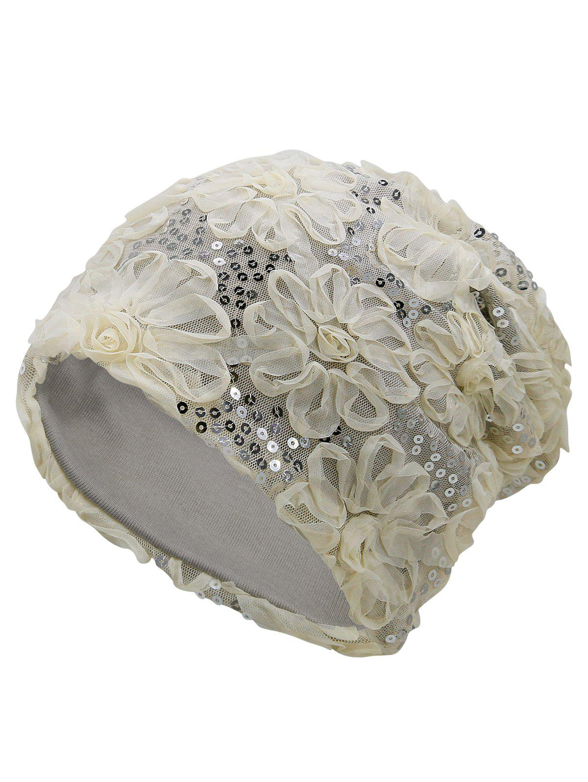 Vintage Stereoscopic Flowers Slouchy Beanie - BEIGE