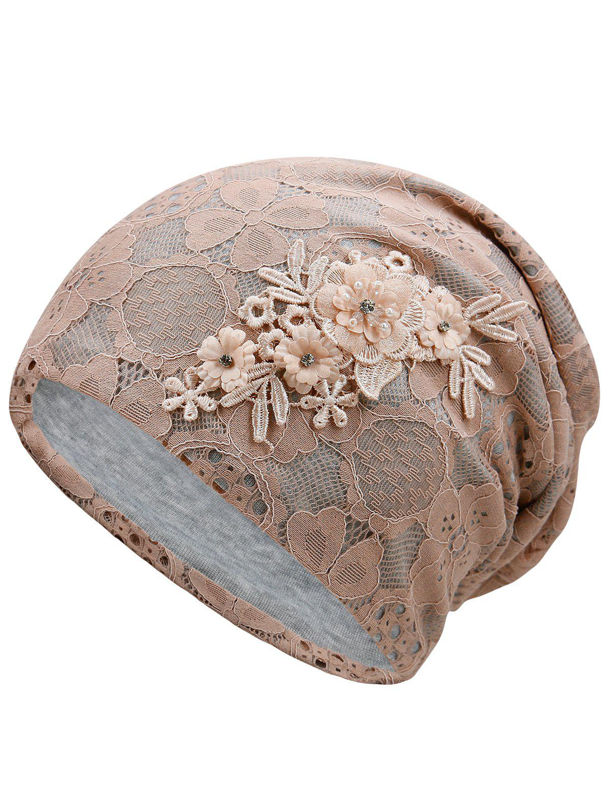 Lightweight Blooming Flowers Lace Slouch Beanie - KHAKI ROSE