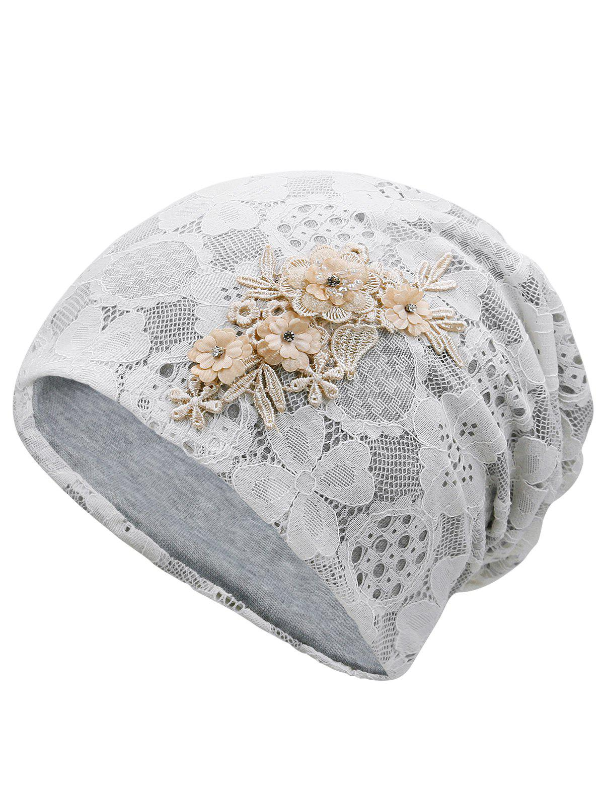 Lightweight Blooming Flowers Lace Slouch Beanie - GRAY GOOSE