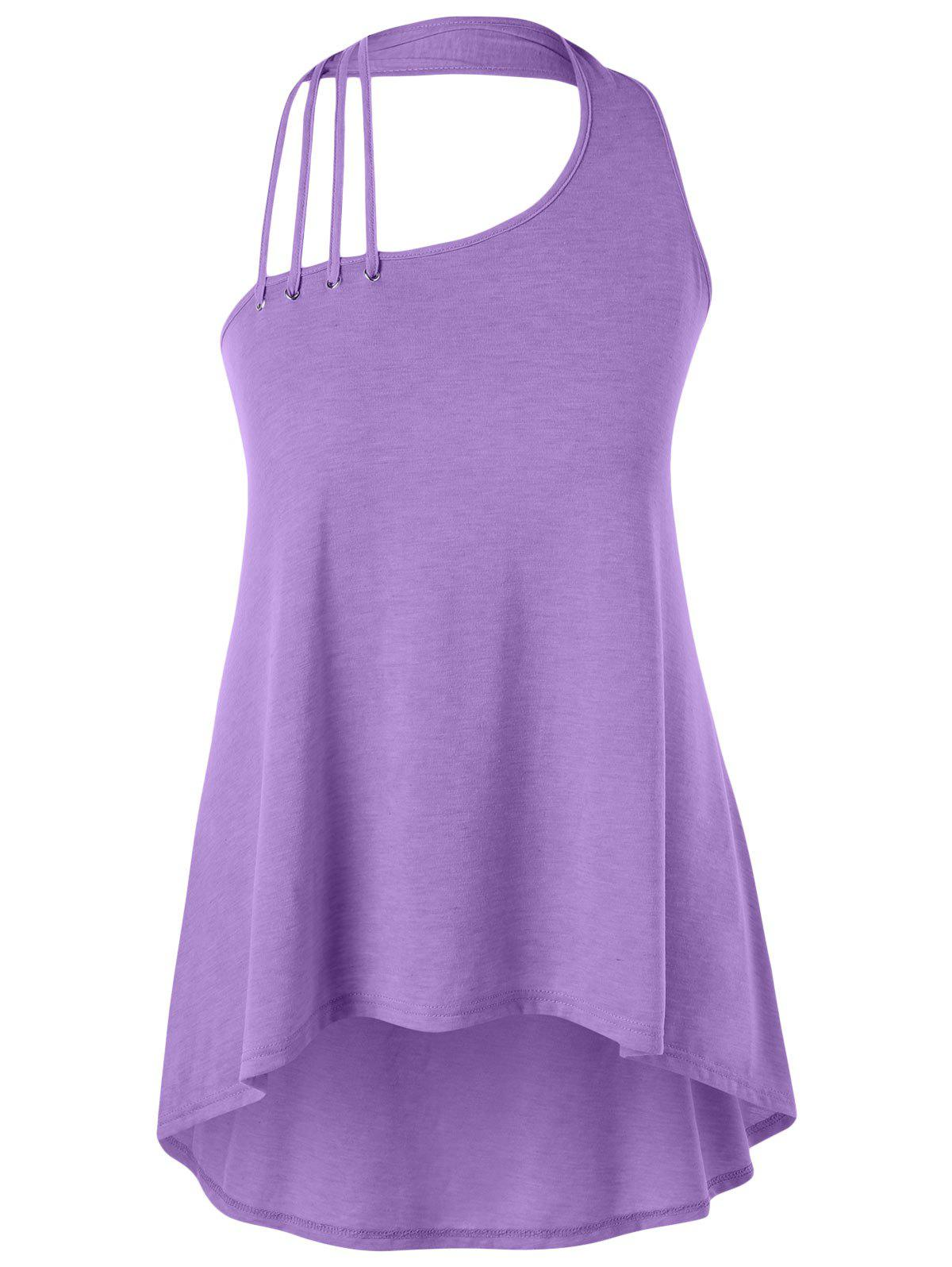 Plus Size Strappy Halter Neck High Low Tank Top plus size strappy halter neck tank top