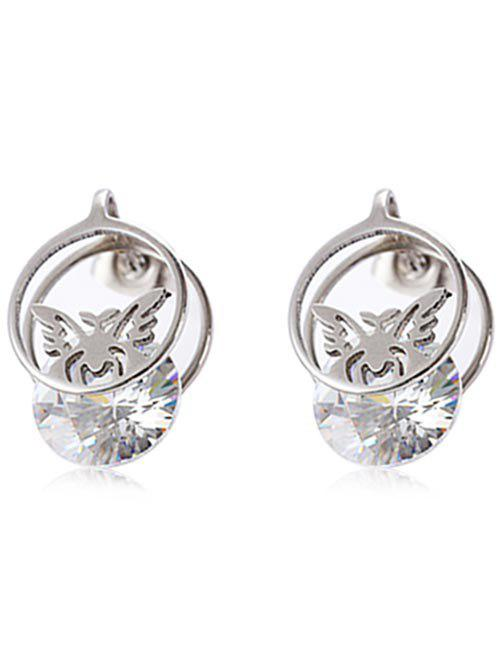 Metal Rhinestone Butterfly Round Tiny Earrings - SILVER