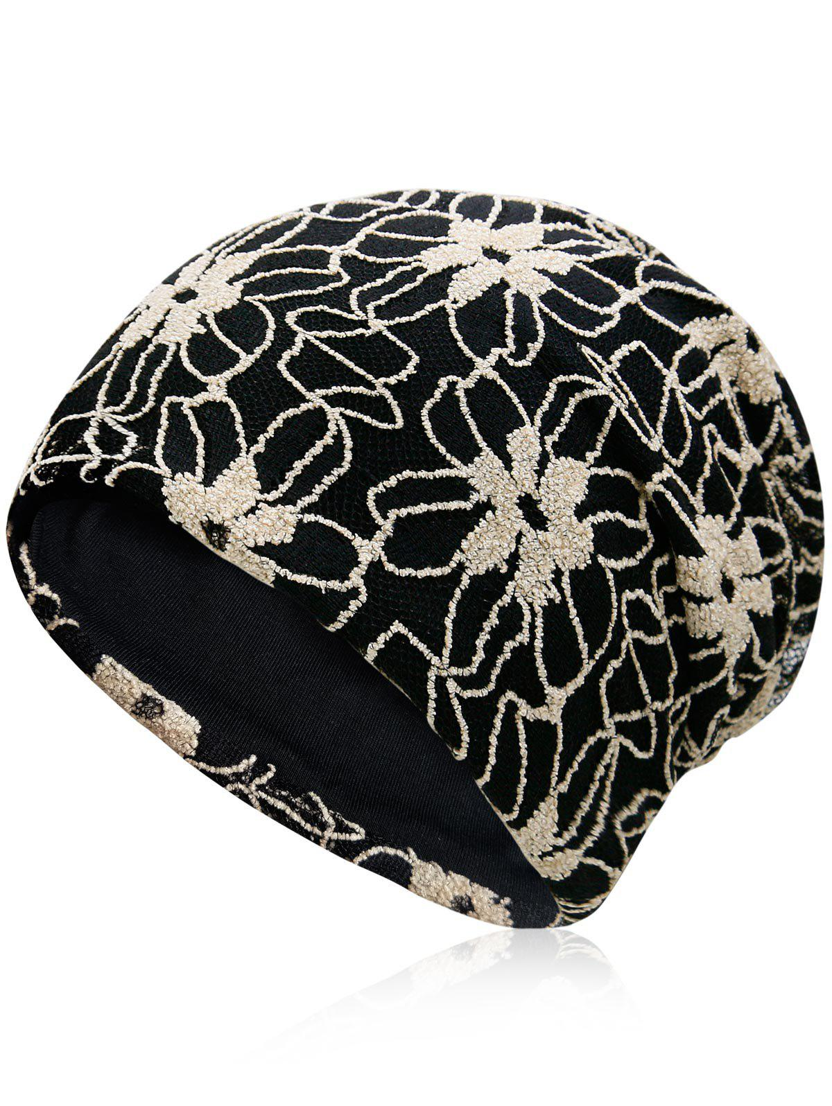 Unique Flowers Embroidery Baggy Beanie - BEIGE