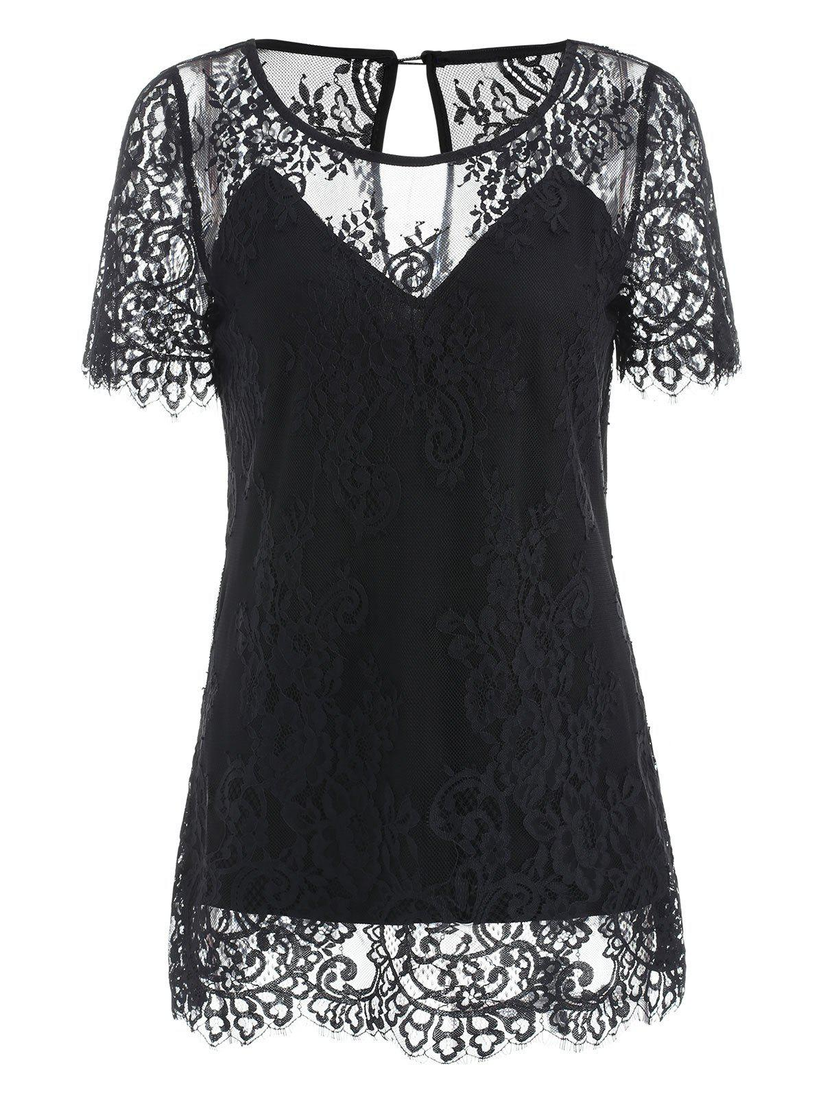 Slim Fit Lace T-shirt - BLACK XL