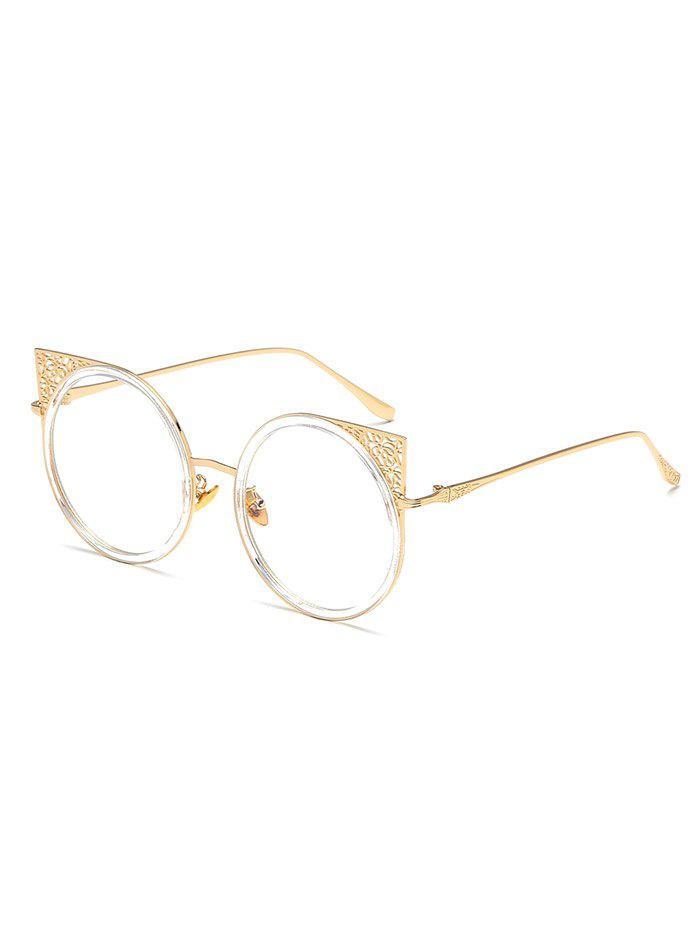Anti Fatigue Hollow Out Metal Frame Round Sunglasses - GOLDEN BROWN