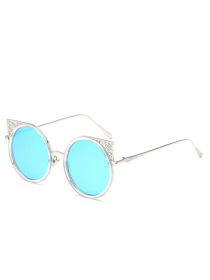 Anti Fatigue Hollow Out Metal Frame Round Sunglasses - DAY SKY BLUE