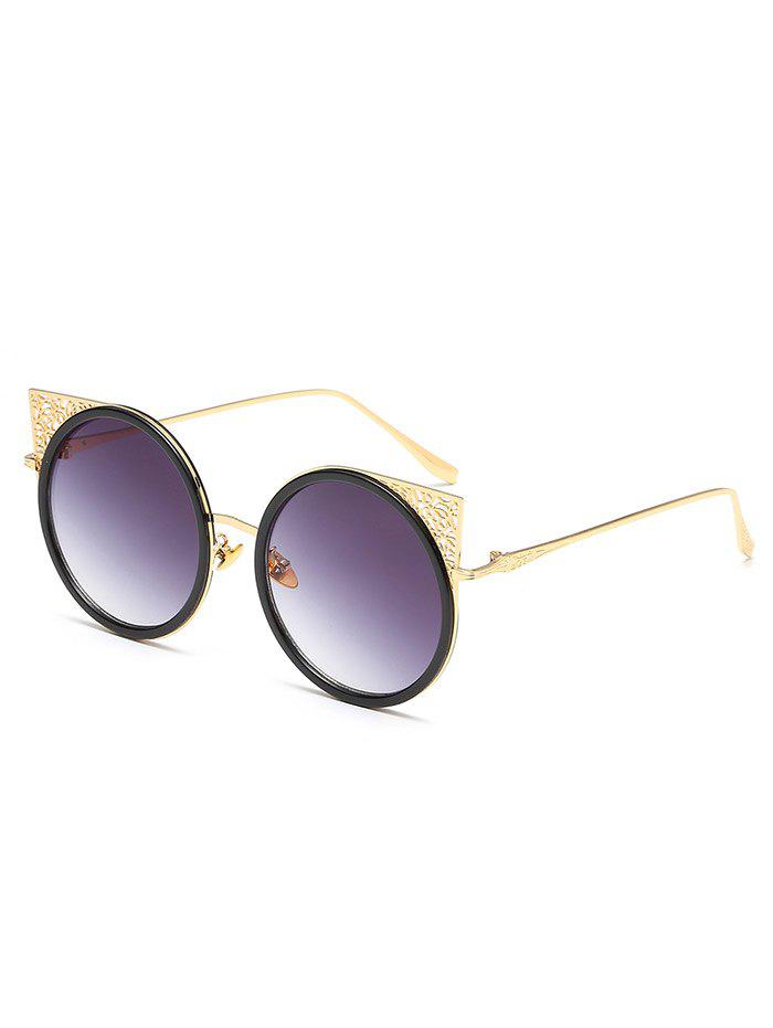 Anti Fatigue Hollow Out Metal Frame Round Sunglasses - BLACK