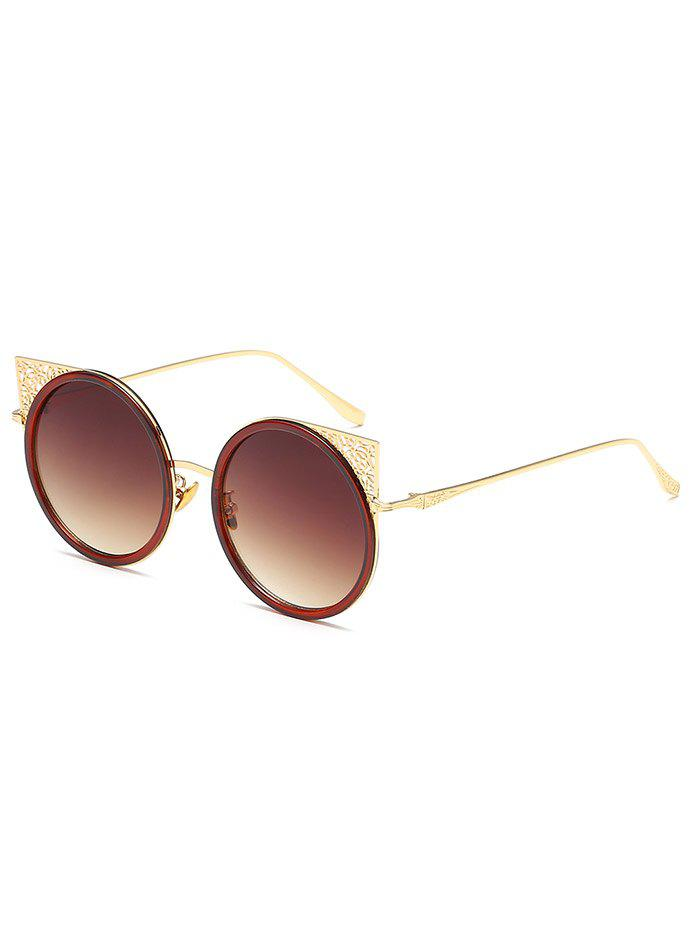 Anti Fatigue Hollow Out Metal Frame Round Sunglasses - RUST