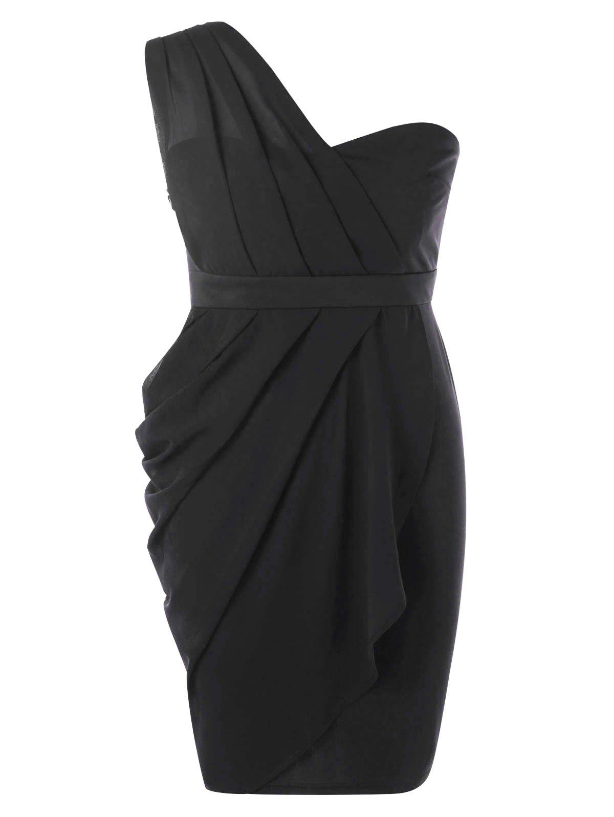 2018 Plus Size Ruched Semi Formal Dress Black Xl In Bodycon Dresses