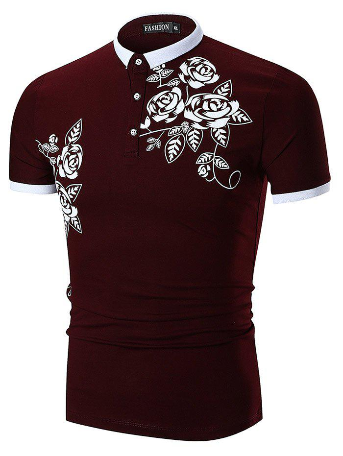 Flower and Leaves Print Slimming Polo Collar T-shirt - RED WINE XL
