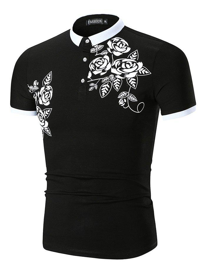 Flower and Leaves Print Slimming Polo Collar T-shirt - BLACK 2XL
