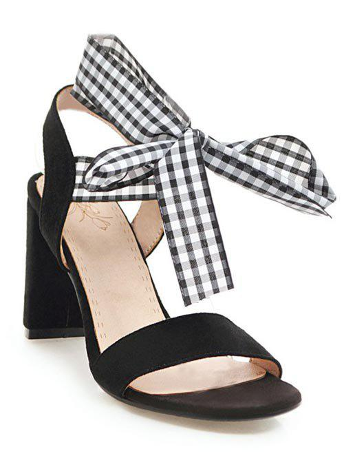 Block Heel Lace Up Plaid Sandals lace up low heel casual sandals