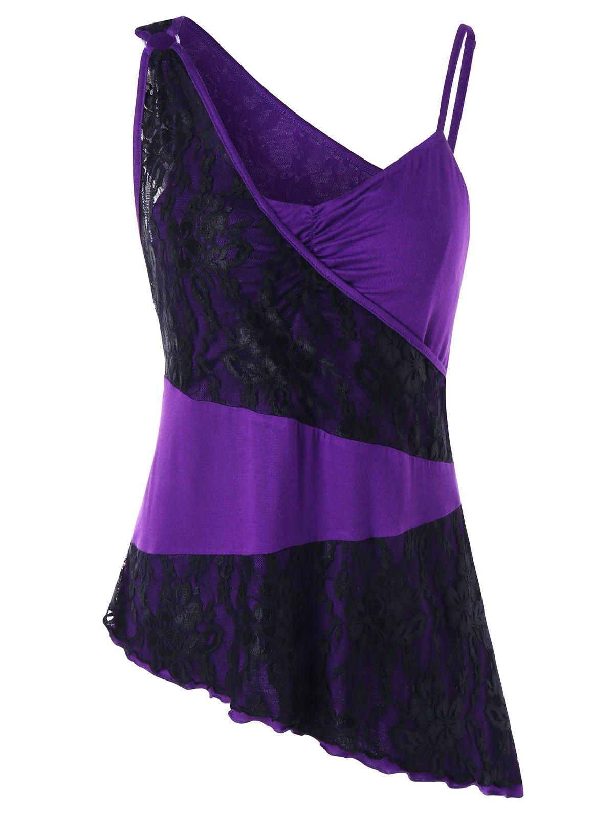 Lace Panel Plus Size One Shoulder Swing Top - BLACK/PURPLE 5XL