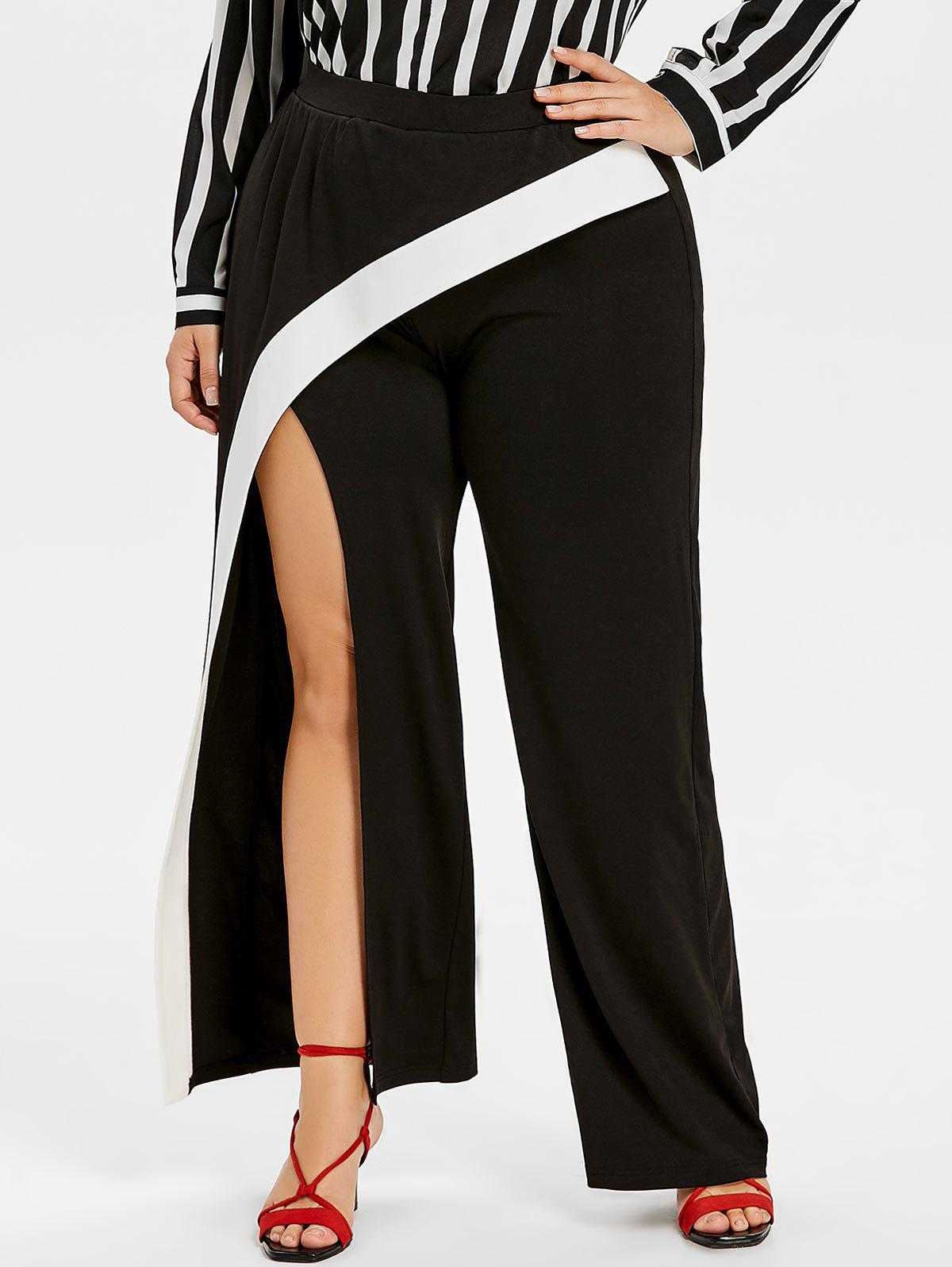 Plus Size Wide Leg Slit Wrap Pants - BLACK L