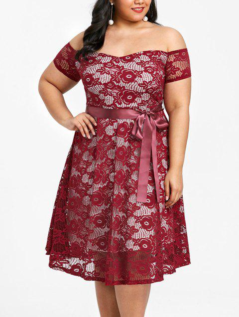 Plus Size Off The Shoulder Tea Length Dress - WINE RED 5XL