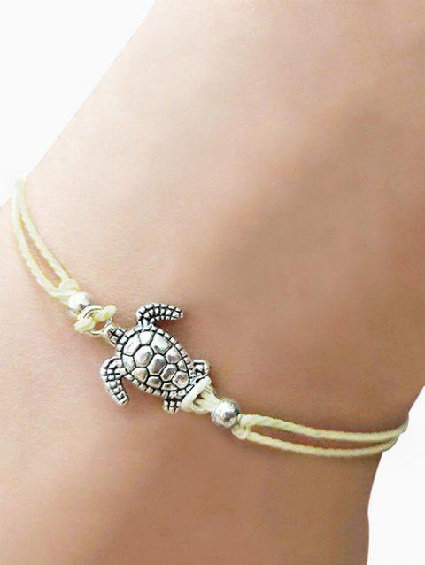 Tortoise Adjustable Knot Braided Rope Anklet - BEIGE