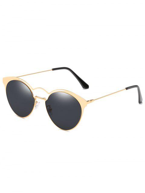 Unique Metal Full Frame Flat Lens Circle Sunglasses - BLACK