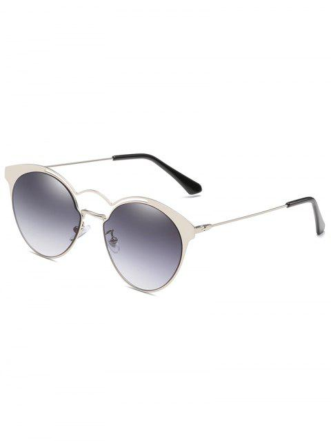 Unique Metal Full Frame Flat Lens Circle Sunglasses - BLUE GRAY