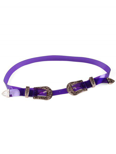 Unique Double Head Buckle PVC Waist Belt - VIOLET