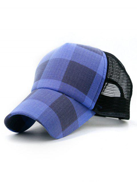 Lattice Checked Printed Baseball Hat - BLUE