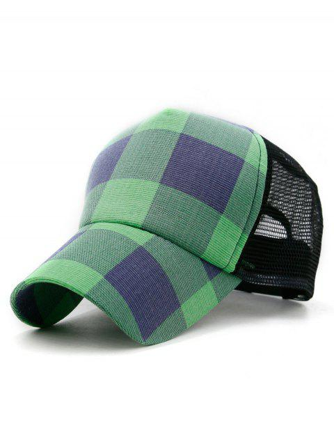 Lattice Checked Printed Baseball Hat - BLUE GREEN