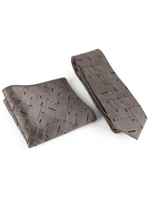 Cross Stripe Pattern Silky Shirt Tie Handkerchief Set - GRANITE