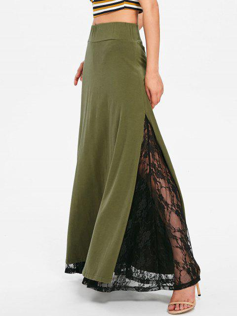 High Rise Lace Panel High Slit Maxi Skirt - ARMY GREEN 2XL