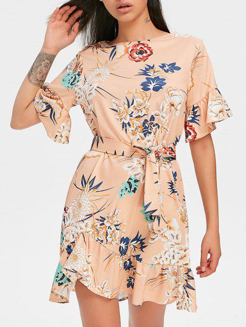Floral Dress with Belt - APRICOT S