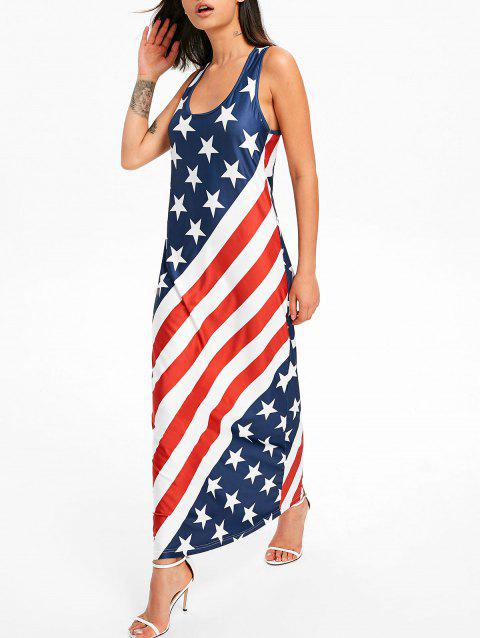 U Neck American Flag Floor Length Dress - multicolor M