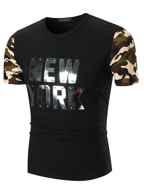 Sequined Letter Print Camo Sleeve T-shirt - BLACK 3XL