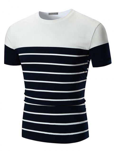 Crew Neck Stripe Print Color Block T-shirt - BLACK 2XL
