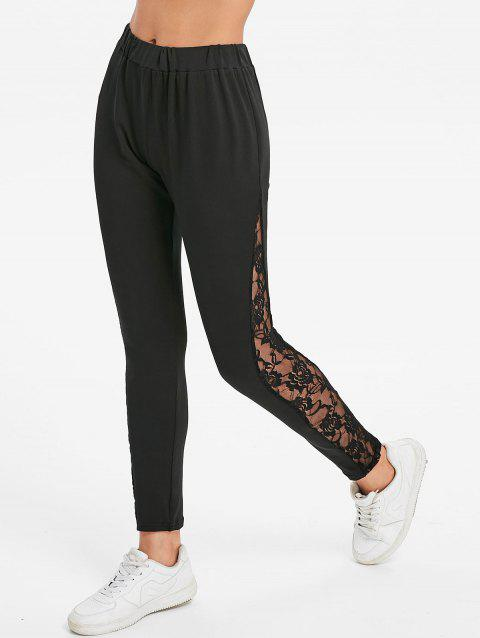 Sheer Lace Side Fitted Leggings - BLACK S