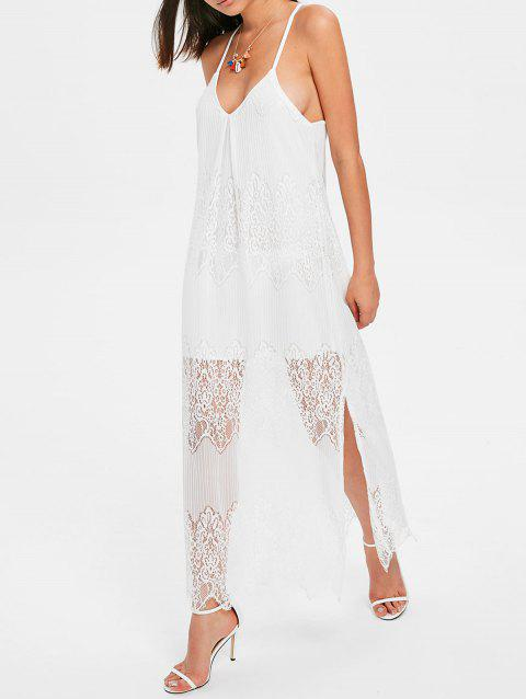 Racerback Slit Lace Beach Dress - WHITE S