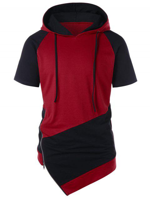 10f53373 71% OFF] 2019 Asymmetrical Drawstring Color Block Hoodie In RED WINE ...