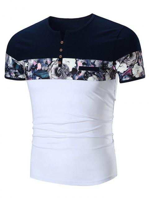Faux Pocket Flower Print Panel Split Neck T-shirt - WHITE 2XL