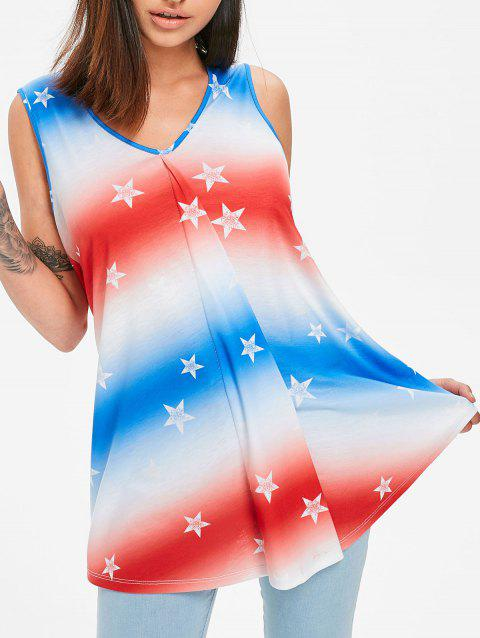 Draped French Flag Star Tank Top