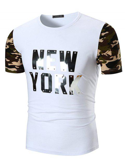 Sequined Letter Print Camo Sleeve T-shirt - WHITE 3XL
