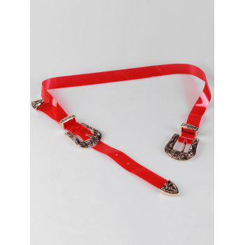 Unique Double Head Buckle PVC Waist Belt - RED