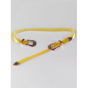 Unique Double Head Buckle PVC Waist Belt - CORN YELLOW