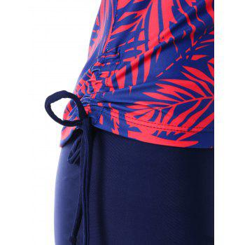 Backless Patterned Boyshort Tankini - BLUE XL