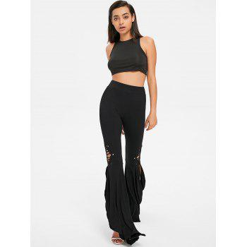 High Rise Ripped Flare Pants - BLACK 2XL
