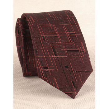 Cross Stripe Pattern Silky Shirt Tie Handkerchief Set - RED WINE