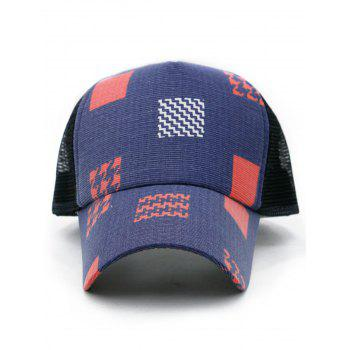 Unique Square Pattern Mesh Baseball Cap - LOVE RED