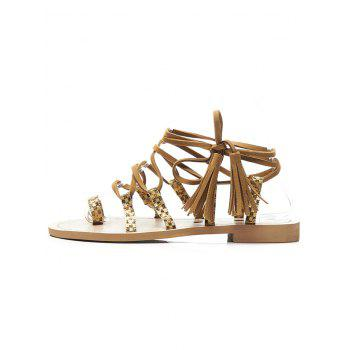 Ankle Strap Lace Up Tassels Thong Sandals - APRICOT 39