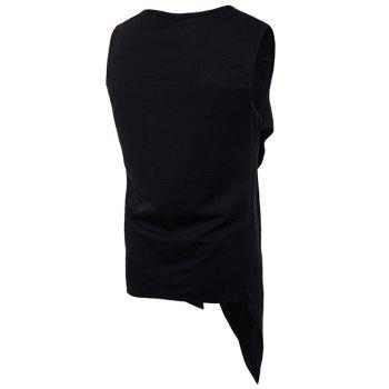 Casual Irregular V Hem Tank Top - BLACK XL
