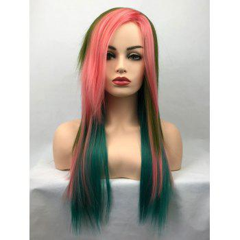 Long Inclined Bang Layered Colormix Straight Synthetic Cosplay Wig - multicolor